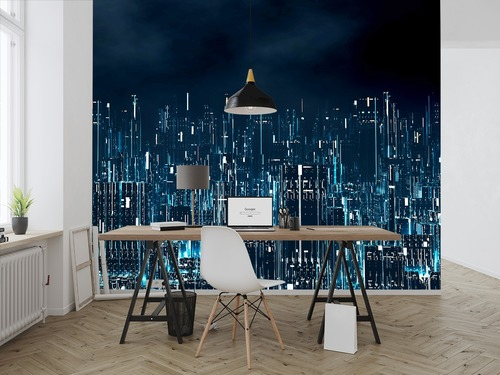 Wall mural 3D digital city at night, virtual reality, business intelligence, wall mural for the office