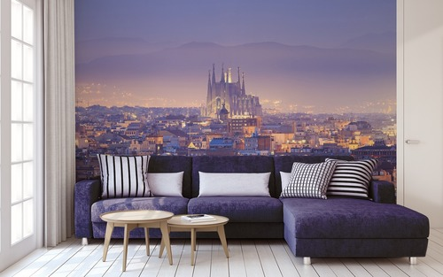 Magic sunset in Barcelona, Sagrada Família, aerial view, play of light and shadow, wall mural