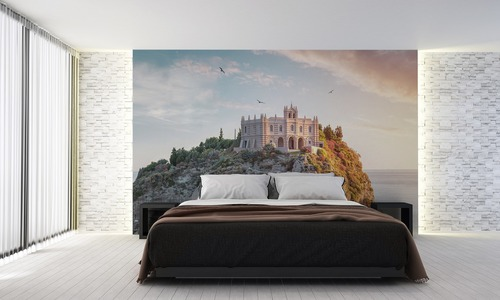 Santa Maria dell'Isola, wall mural for the living room, bedroom, sunny day on the island, warm and cold colors, Tropea, Calabria, Italy