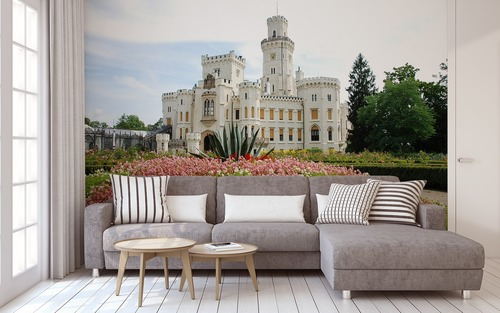 Hluboka nad Vltavou - the most beautiful palace of the Czech Republic, wall mural for the living room, white, flowers, greenery