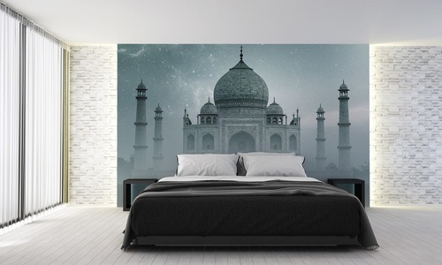 Wall mural Taj Mahal India, starry sky, fog, gradient, gray, for the bedroom, living room