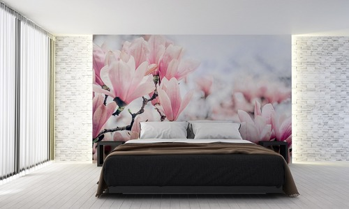 Wall mural flowers, pink magnolia, spring, bedroom wall mural