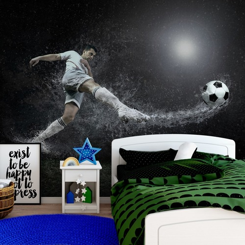 Football wall mural, football player, rain drops, football, wall mural for the boy's room
