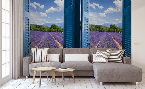 Wall mural view from the window, lavender, mountains, azure coast, blue shutters