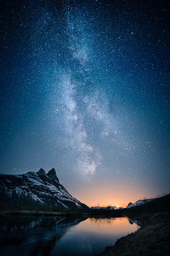 Wall mural milky way, mountain landscape, sunset, lake