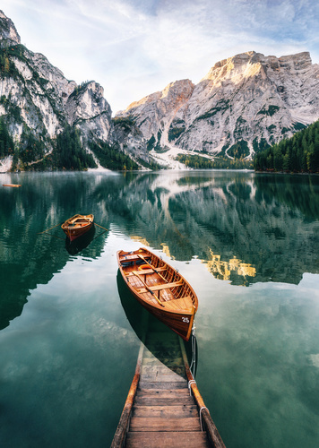 Wall mural mountains, lake, pier with a boat, forest