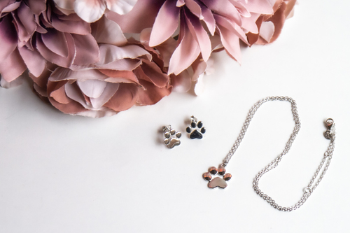 Silver jewelry set - with a dog's paw motif