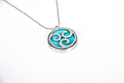 Scented pendant with an oil diffuser - with a spiral motif