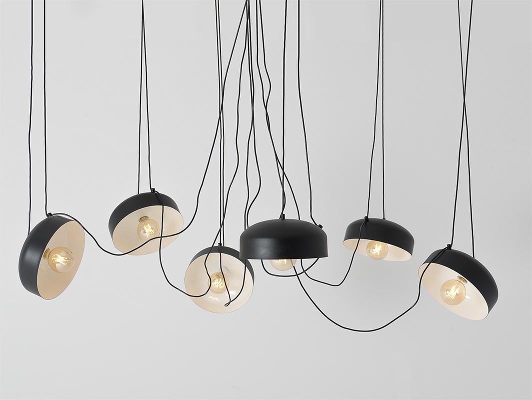 Hanging lamp POPO FLAT L 6 - black