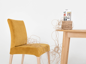 Upholstered chair DIANA, natural beech, passion fruit small 1