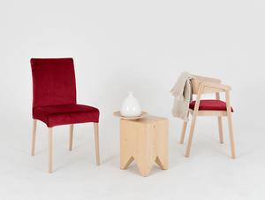 Wooden chair DIANA, natural beech, cranberry small 2