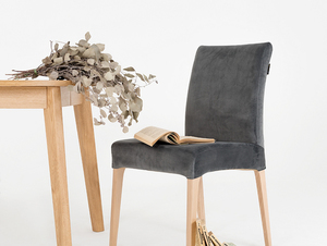 Upholstered gray chair DIANA, beech small 1