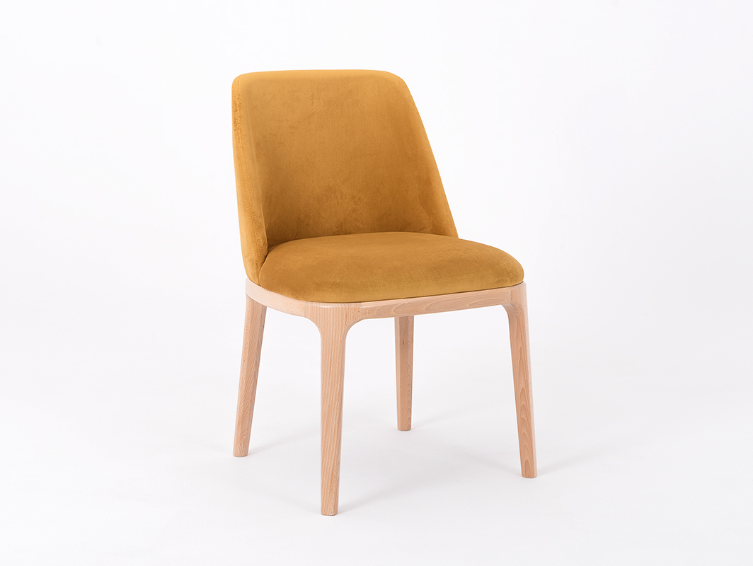 Scandinavian chair upholstered with LULU passion fruit