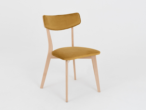 Upholstered TONE SOFT chair, natural wood, passion fruit