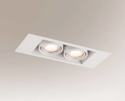 Double EBINO 3306 Shilo GU10 2xPAR16 50W rectangular recessed luminaire