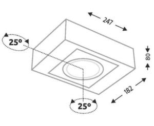 Surface mounted single rectangular Shilo KOGA H 1225-GU10 small 1