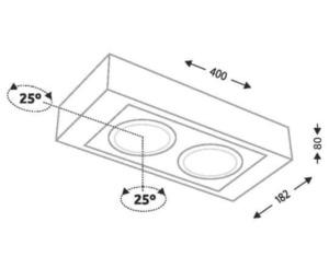 Surface mounted double rectangular Shilo KOGA H 1226-G53 small 1