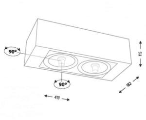 Surface mounted double rectangular Shilo KOMAKI 1238 small 1