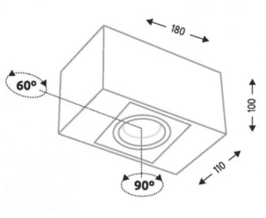 Surface mounted single rectangular Shilo SETO H 1214 small 1