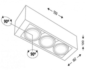 Surface mounted triple rectangular Shilo UTO 1145-GU10 small 1