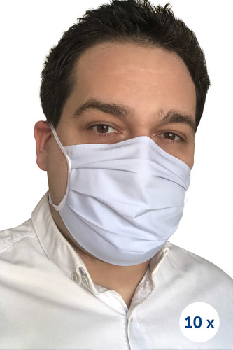 Protective cotton mask on straps 10 pieces blue