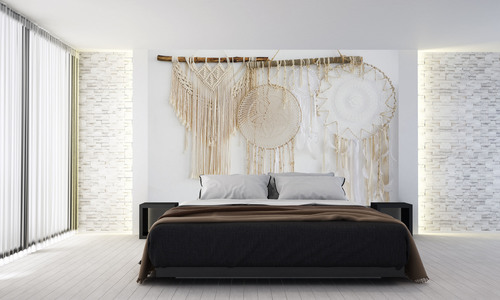 Boho wallpaper, dream catcher, macramé, natural materials, feathers, wall decoration