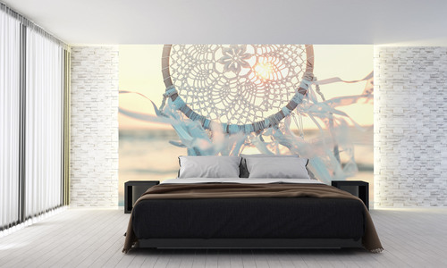 Dreamcatcher wallpaper, sea, wind, sun rays, handicrafts, white, decoration