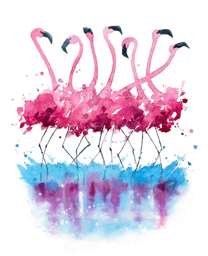 Wall mural for children, flamingos, painted with watercolor, holiday decoration