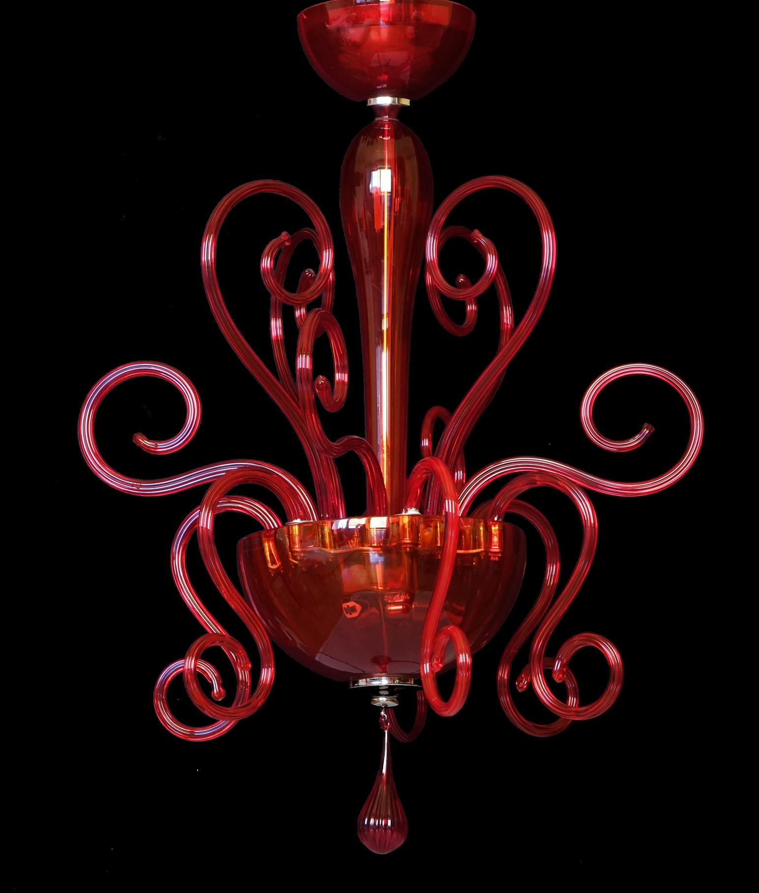 Chandelier Leucos Bolero S50 red crystal