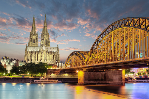 Cologne - wall mural Cologne cathedral, Germany, sunset, bridge over the river Rhine, city at night
