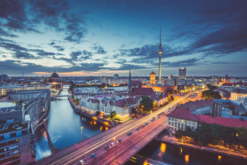 Wall mural Berlin, aerial view of the city, dusk, lighting accents