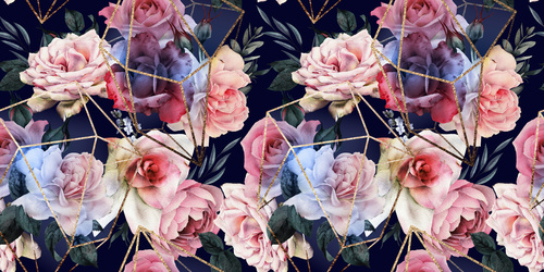 Wall mural Flowers on a black background, golden geometric patterns, roses, 3D wallpaper