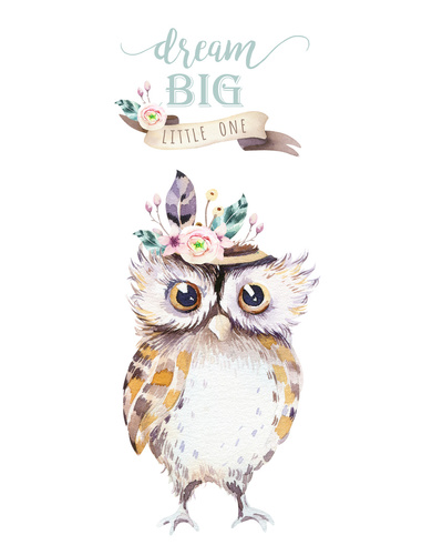 Wall mural for children - dream big, owl, painted in watercolor, pastel colors