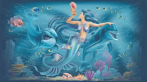 Wall mural mermaid, ocean, dolphins, girl's room, water