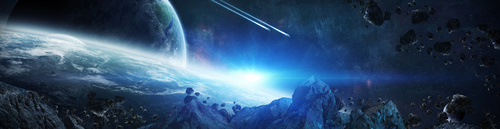 Wall mural 3D, space, blue color, asteroids, earth.