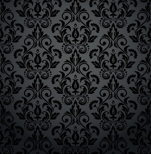 Wall mural for the living room - floral ornaments, baroque, shades of gray and black, glamor