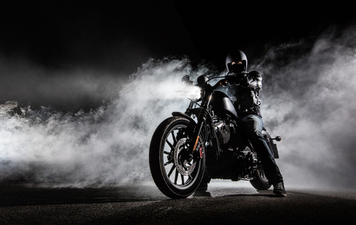 Wall mural motorcycle, fog, chopper, night shot