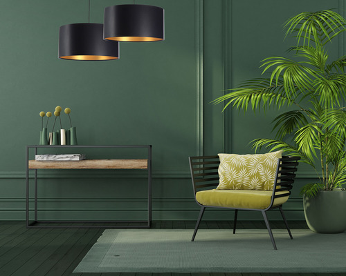 Black gold hanging lamp LEXIE E27 60W latex, satin