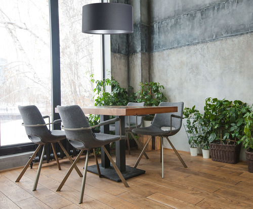 Pendant lamp Leather E27 60W cylinder graphite silver