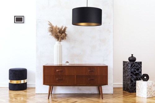 Hanging lamp above the table Leather E27 60W quilted black gold