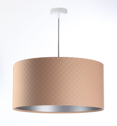 Pendant lamp for bedroom Leather E27 60W quilted salmon silver