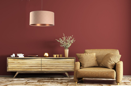 Pendant lamp for dining room Leather E27 60W quilted, salmon, copper