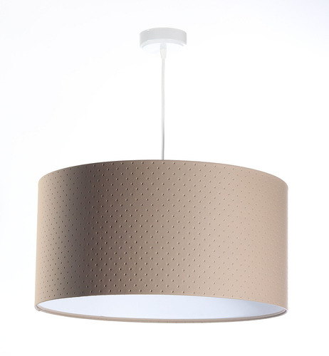 Hanging lamp above Leather E27 60W quilting dots, beige, white