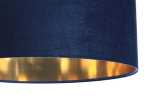 Leather - navy blue hanging lamp, velvet fabric, gold E27 60W small 1