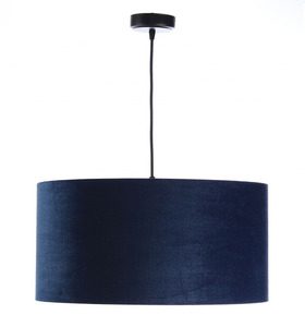 Leather - navy blue hanging lamp, velvet fabric, gold E27 60W small 2