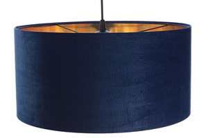 Leather - navy blue hanging lamp, velvet fabric, gold E27 60W small 3