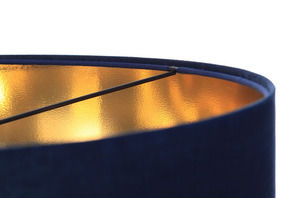 Leather - navy blue hanging lamp, velvet fabric, gold E27 60W small 4