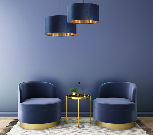 Leather - navy blue hanging lamp, velvet fabric, gold E27 60W