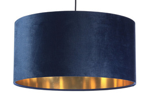 Leather - navy blue hanging lamp, velvet fabric, gold E27 60W small 6