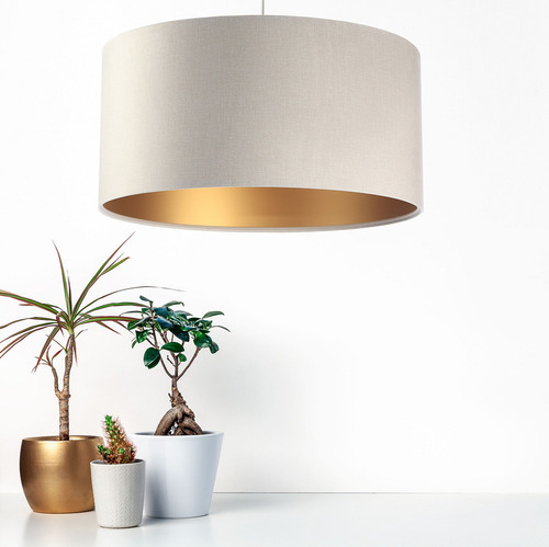 Leather - hanging lamp, velvet fabric, matte gold E27 60W